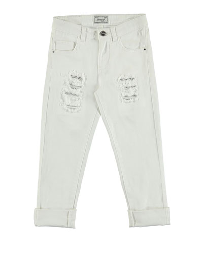 Distressed Stretch Skinny Jeans, White, Size 8-16