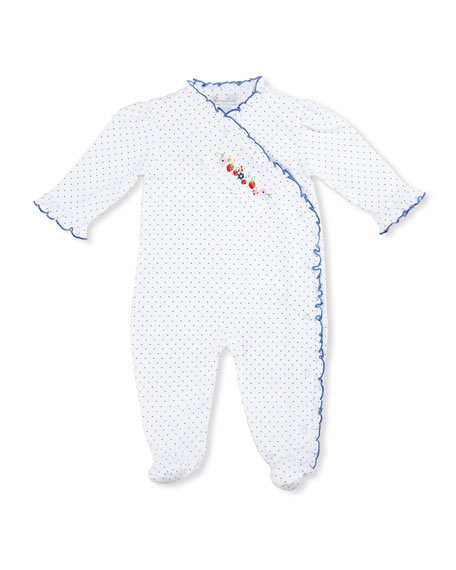 Strawberry Delight Pima Footie Pajamas, Blue/White, Size 0-9
