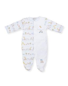 Safari Excursion Printed Footie Pajamas, Blue/White, Size 0-18 Months