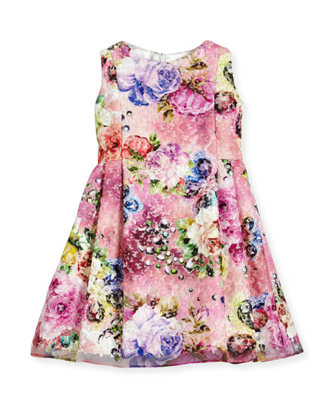Sleeveless Printed Floral Lace Dress, Multicolor, Size 7-14
