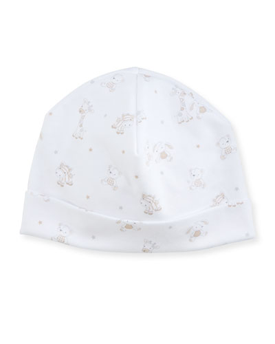 Toy Box Printed Pima Baby Hat, Beige/White
