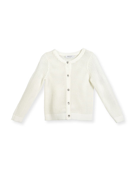 Milly Minis Mesh Button-Front Cardigan, White, Size 4-7