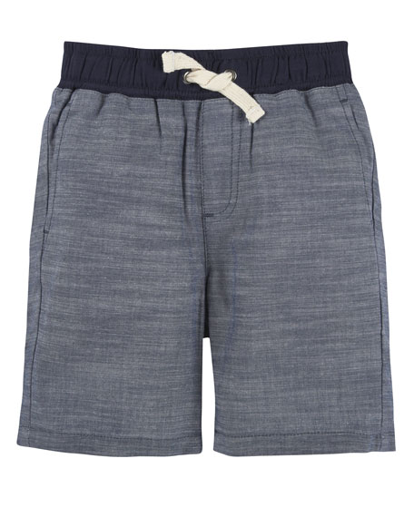 Cotton Chambray Drawstring Shorts, Blue, Size 3-24 Months
