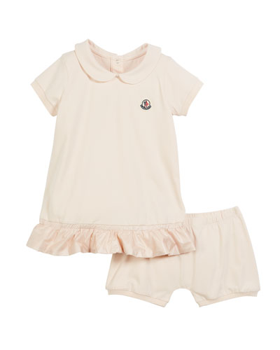 Contrast-Hem Dress w/ Matching Bloomers, Size 3-18 Months