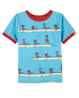 Animals Rowing Stretch Jersey Tee, Blue, Size 2-7