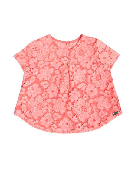 Pili Carrera Short-Sleeve Boxy Lace Top, Pink, Size