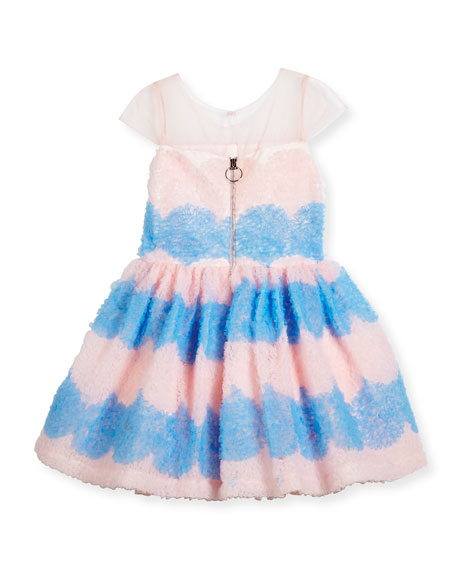 Cap-Sleeve Textured Tulle Fit & Flare Dress, Pink/Blue, Size 7-16