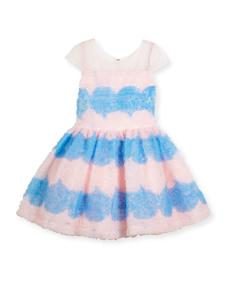 Cap-Sleeve Textured Tulle Fit & Flare Dress, Pink/Blue, Size 2-6X