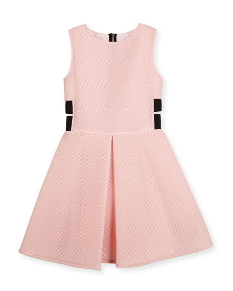 Sleeveless Pleated Mesh Neoprene Fit-and-Flare Dress, Pink, Size 8-16