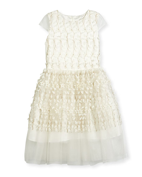 Cap-Sleeve Embroidered Tulle Party Dress, White, Size 6