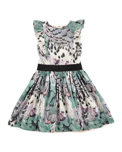 Carey Rooster Feathers A-Line Dress, Aqua Blue, Size 2T-14