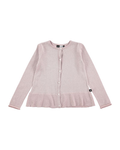 Gulia Metallic Button-Front Sweater, Pink, Size 2T-10