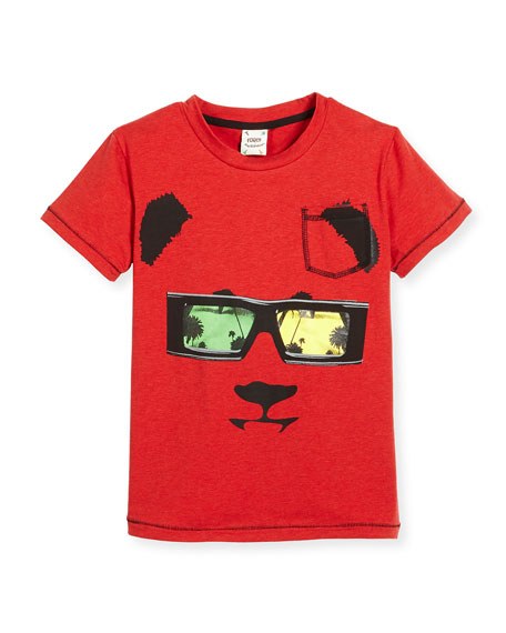 Fore Short-Sleeve Stretch Jersey Panda Tee, Red, Size