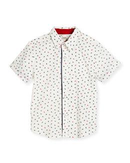 Short-Sleeve Poplin Ant Shirt, White, Size 2-8
