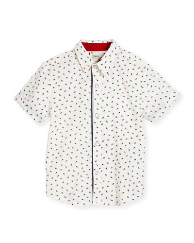 Short-Sleeve Poplin Ant Shirt, White, Size 2-8