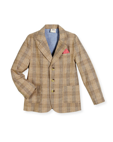 Fore Tailored Plaid Blazer, Tan, Size Small (2T