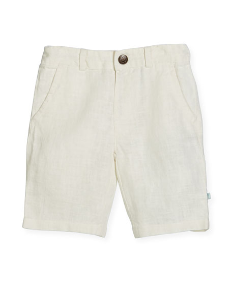 Linen Bermuda Shorts, White, Size 2-8