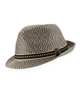 Boys' Braided Paper Fedora Hat, Black