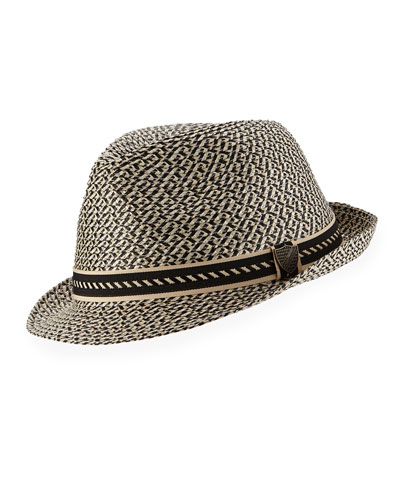 Boys' Braided Paper Fedora Hat, Black