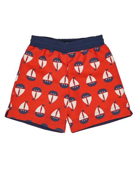 Sailboat Swim Trunks, Red, Size 2T-4T