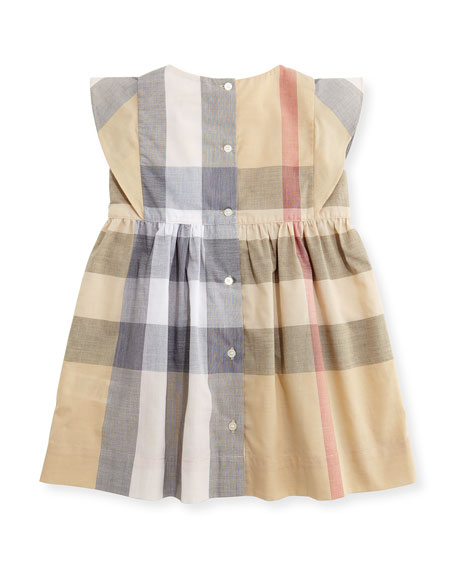 Gertrude Sleeveless Check Dress, Neutral, Size 6M-3
