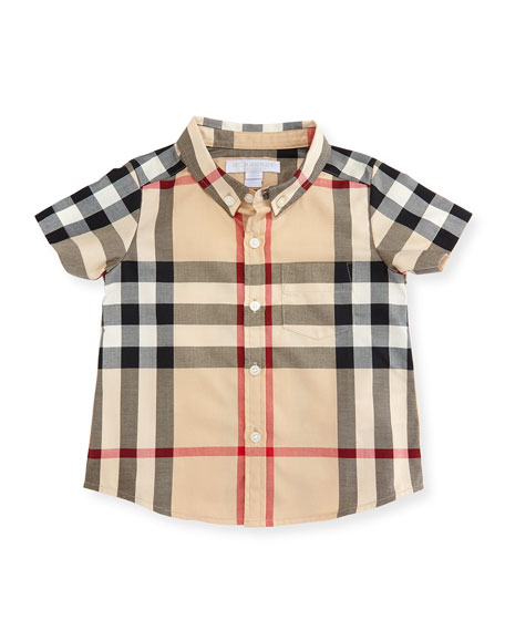 Mini Fred Short-Sleeve Check Shirt, Neutral, Size 6M-3