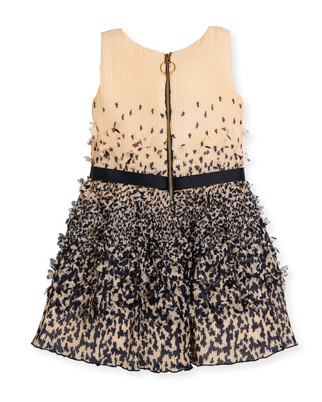 Sleeveless Plissé Chiffon Clover Dress, Peach/Navy, Size 7-16