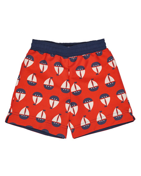 Sailboat Swim Trunks, Red, Size 6-24 Months