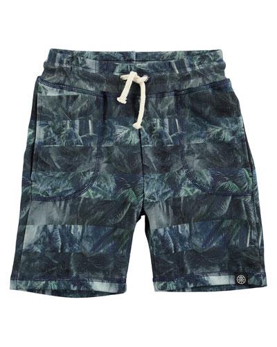 Ajaz Palm Tree Stripe Drawstring Shorts, Green, Size 4-12