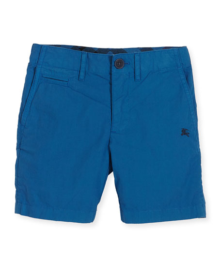 Image 1 of 1: Cotton Chino Shorts, Blue, Size 4-14