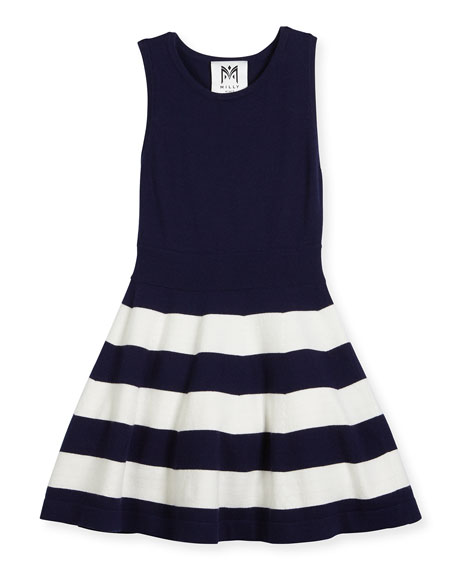 Sleeveless Striped Fit-and-Flare Sweaterdress, Navy, Size 4-7