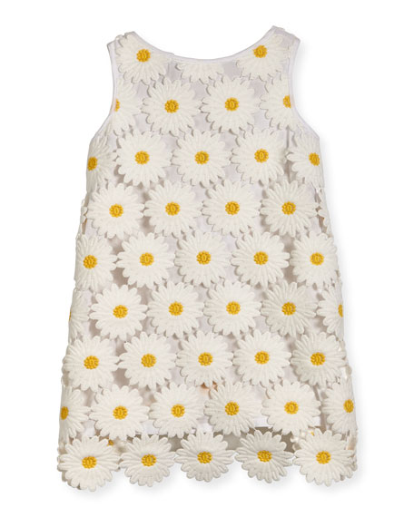 Sleeveless Floral Lace Shift Dress, White, Size 8-16