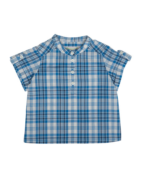 Bonpoint Emilio Short-Sleeve Check Shirt, Blue, Size 6M-2