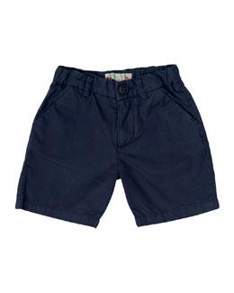 Cotton Twill Shorts, Navy, Size 6M-2