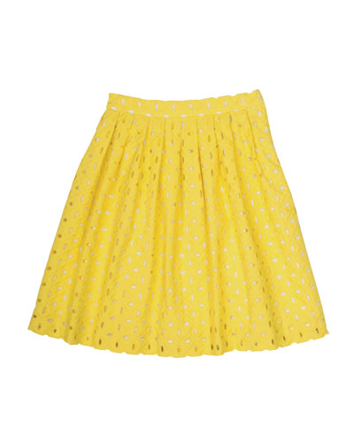 Concerto Pleated Cotton Eyelet Skirt, Yellow, Size 3-8