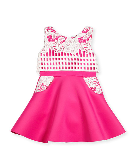 Sleeveless Lace-Trim Fit-and-Flare Scuba Dress, Pink/White, Size 2-6X
