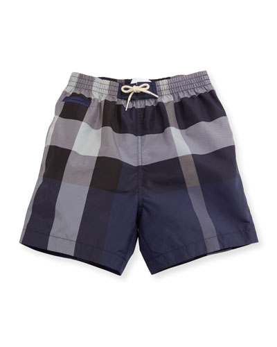 Saxon Check Swim Trunks, Blue, Size 6M-3