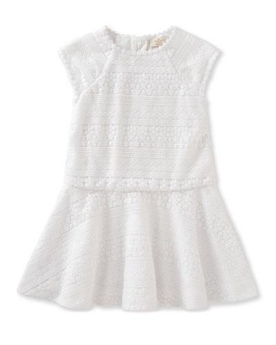 mixed-lace raglan circle dress, white, size 2-6
