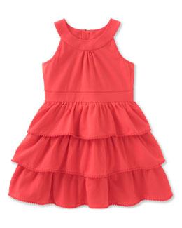 sleeveless tiered stretch jersey dress, red, size 2-6