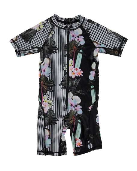 Neka Printed Short Wetsuit, Black, Size 9M-4T