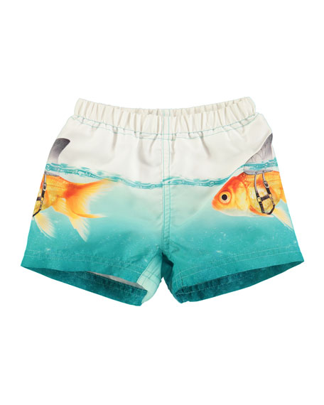 Molo Newton Goldfish Swim Trunks, Blue, Size 3-24