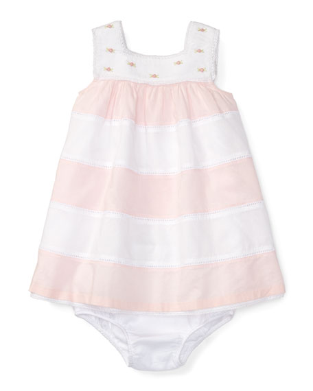 Sleeveless Striped Voile Dress w/ Bloomers, Pink/White, Size