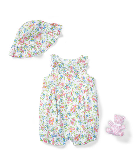 Three-Piece Floral Cotton Batiste Gift Set, Pink/White, Size
