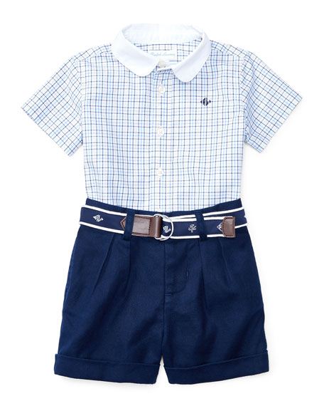 Short-Sleeve Check Shirt w/ Belted Shorts, Multicolor, Size 3-24 Months