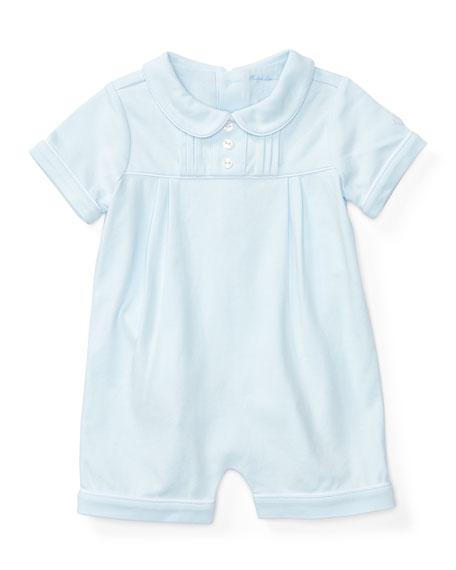03a6cb152e Short-Sleeve Pintucked Jersey Shortall Beryl Blue Size 3-18 Months