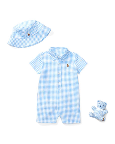 1fae839d5ca Ralph Lauren Childrenswear Three-Piece Gingham Shortall Gift Set ...