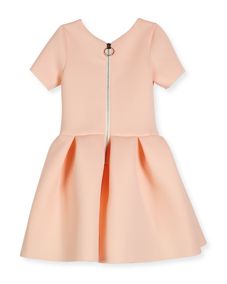 Meg Short-Sleeve Pleated Scuba Dress, Blush, Size 4-6
