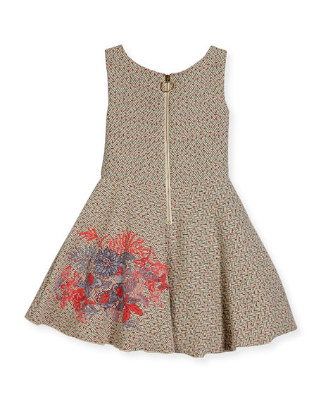 Day Dream Metallic Tweed Swing Dress, Pink Pattern, Size 7-16