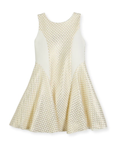 Lexie Sleeveless Netted Mesh Fit-and-Flare Dress, Gold, Size 7-16
