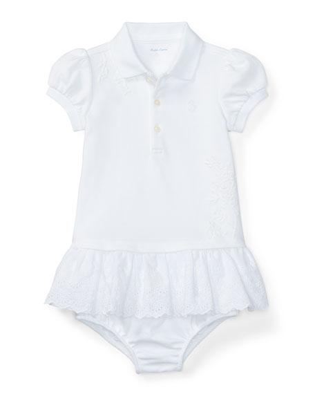 Ralph Lauren Childrenswear Cap-Sleeve Embroidered Polo Dress w/